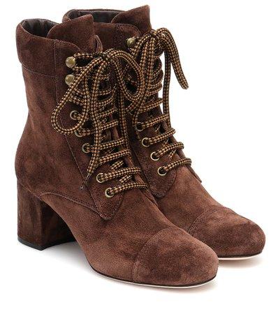 Miu Miu - Suede ankle boots | Mytheresa