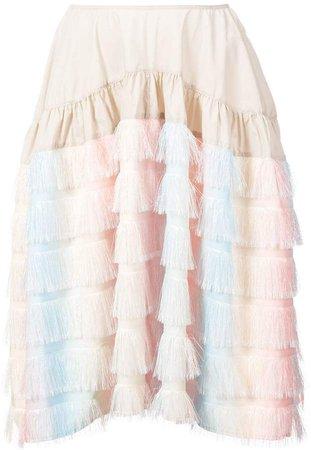 Jourden fringed rainbow skirt