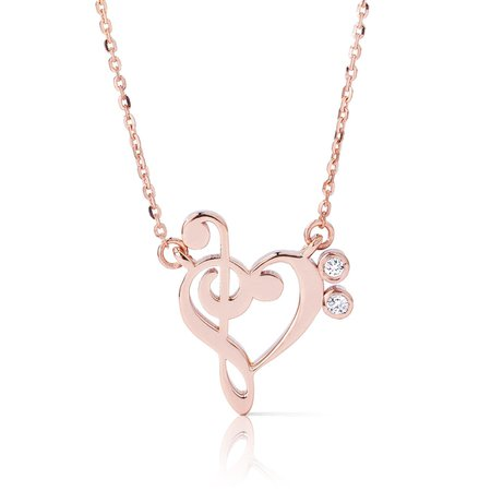 Gold Musical Heart Necklace With Diamonds