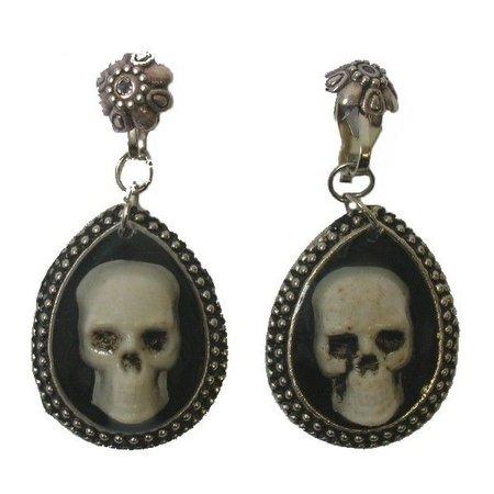 antique skull earrings
