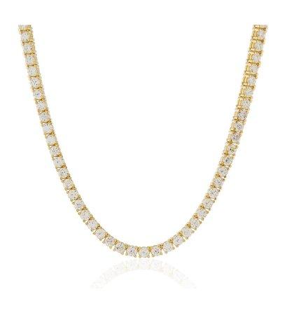gold tennis diamond necklace