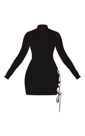 Black Cut Out Side Seam Bodycon Dress   PrettyLittleThing USA