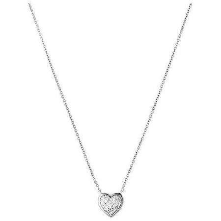 Sterling Silver Diamond Heart Necklace