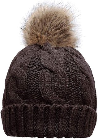 Winter Ribbed Knit Faux Fur Pompom Chunky Lined Beanie Hat