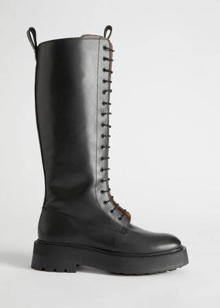 Chunky Knee High Leather Boots - Black - Knee high boots - & Other Stories
