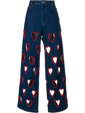 Shoppen Ashish Cut-Out Heart Flared Jeans