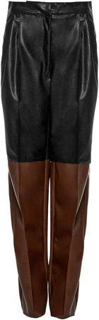 Studio Cut Two-Tone Faux-Leather Wide-Leg Pants