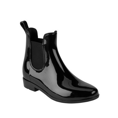 Time and Tru - Women's Time and Tru Ankle Rain Boots - Walmart.com black
