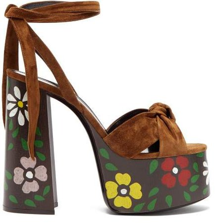 Paige Floral Platform Leather Sandals - Womens - Tan Multi