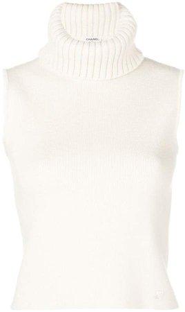 PRE-OWNED sleeveless turtleneck