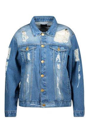 Plus Distressed Oversized Denim Jacket | Boohoo