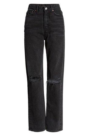 GRLFRND Mica Ripped High Waist Straight Leg Jeans (Lights Off) | black