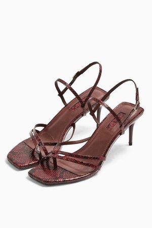 NICOLE Burgundy Strap Sandals   Topshop