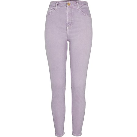 Purple high rise skinny jeans | River Island