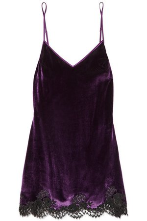 I.D. Sarrieri | Chantilly lace-trimmed velvet chemise | NET-A-PORTER.COM