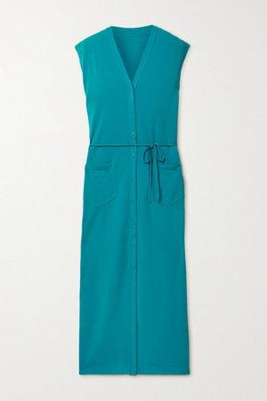 Sabrina Belted Stretch-jersey Midi Dress - Teal