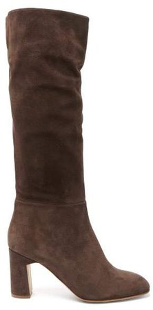 Au Revoir Slouched Suede Knee High Boots - Womens - Dark Brown