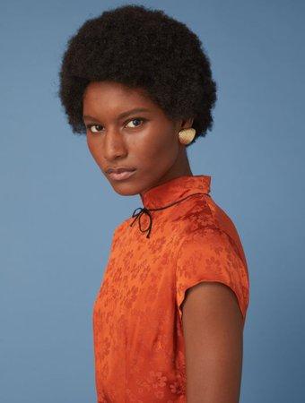 Alexa Chung Mandarin Maui Orange Dress - ALEXACHUNG