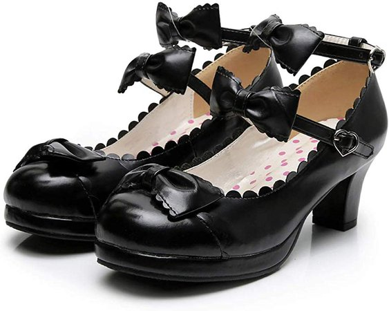 Women's Double Bowtie Straps High Heel Pumps Sweet Princess Girls Lolita Cosplay Shoes | Pumps