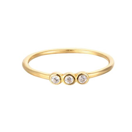 18Ct Gold Vermeil Cz Triple Bezel Stacking Ring | SEOL + GOLD | Wolf & Badger