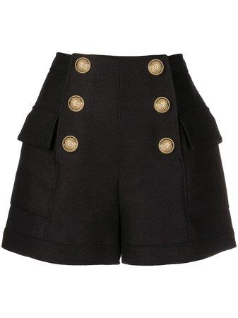 Shop black Balmain double-buttoned flap shorts with Afterpay - Farfetch Australia