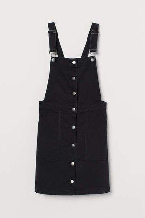 Cotton Twill Overall Dress - Black