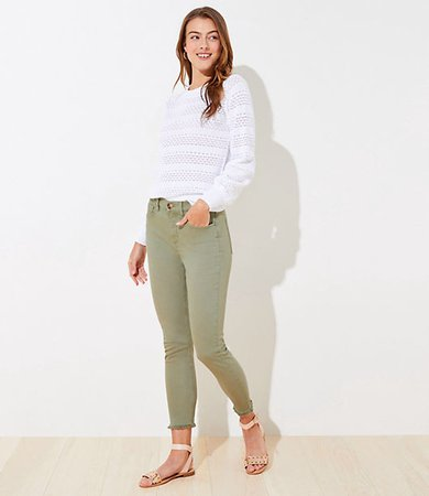 Curvy Frayed High Rise Skinny Crop Jeans