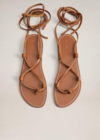 Bantlı deri sandalet - Kadın | Mango Türkiye