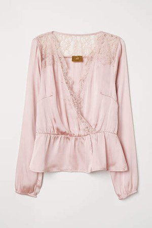 V-neck Satin Blouse - Pink