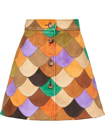 Miu Miu patchwork lambskin skirt