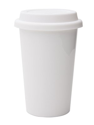 Reusable Double Wall Insulated White Ceramic Coffee Cup