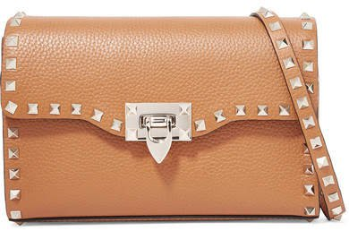Garavani The Rockstud Small Textured-leather Shoulder Bag - Tan
