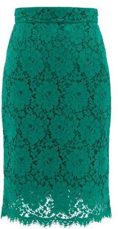 Floral Cotton Blend Guipure Lace Skirt - Womens - Green