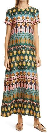 Print Silk Long Swing Dress