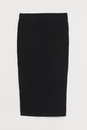 MAMA Ribbed Jersey Skirt - Black