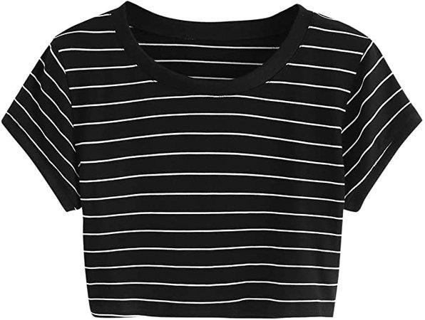 SweatyRocks Women's Striped Ringer Crop Top Summer Short Sleeve T-Shirts Black Medium at Amazon Women's Clothing store