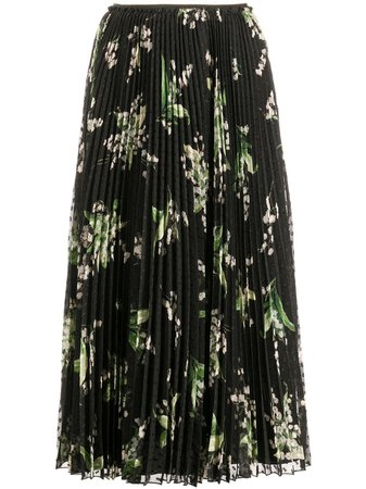 RED Valentino Floral Print Pleated Skirt - Farfetch