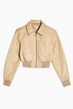 Buttermilk Leather Bomber Jacket | Topshop