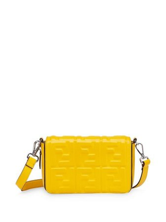 Shop yellow Fendi embossed FF motif shoulder bag with Express Delivery - Farfetch