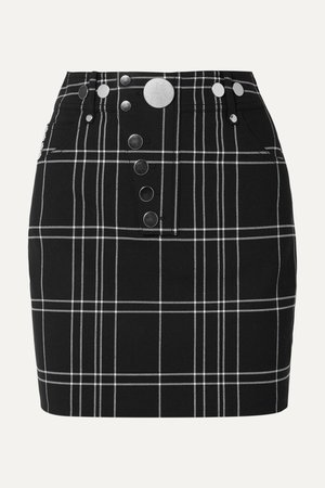Black Checked woven mini skirt | Alexander Wang | NET-A-PORTER