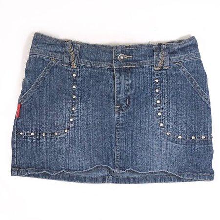 Vintage early 2000s mid rise medium wash denim mini skirt in - Depop