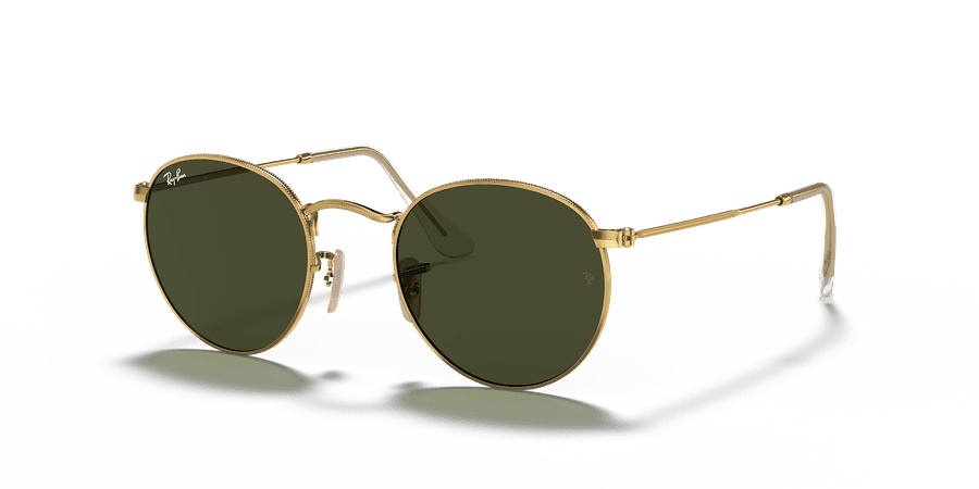 Ray-Ban RB3447 Round Metal 50 Green Classic G-15 & Gold Sunglasses | Sunglass Hut USA