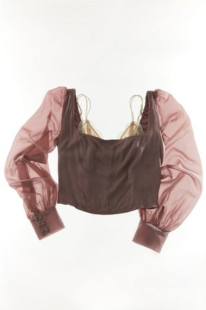 UO Lena Sheer Sleeve Square Neck Blouse | Urban Outfitters