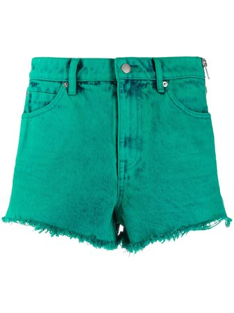 green Alexander Wang frayed denim shorts with Express Delivery - Farfetch
