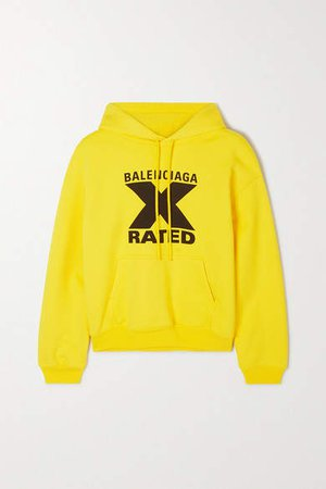 Printed Cotton-jersey Hoodie - Yellow