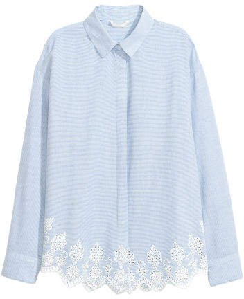 Shirt with Eyelet Embroidery - Blue