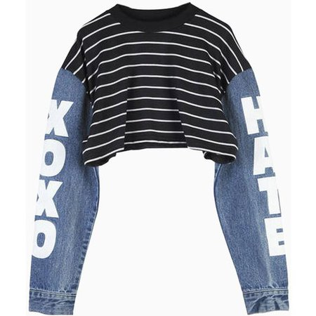 Choies Black Stripe Crop Top with Contrast Denim Sleeves