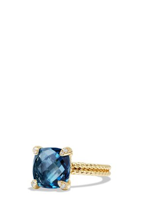 David Yurman Châtelaine Ring with Hampton Blue Topaz and Diamonds in 18K Gold | Nordstrom