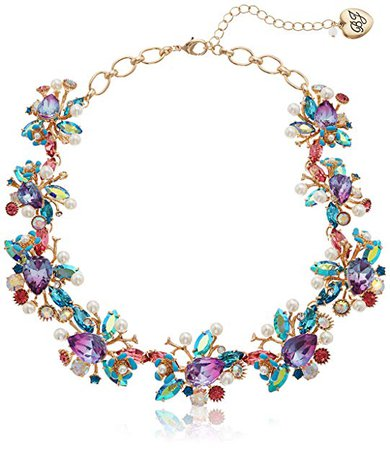 Betsey Johnson Mermaid Mixed Stone Cluster Collar Necklace, Multi, One Size: Jewelry