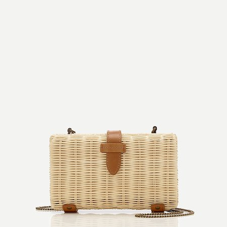 J.Crew: Rattan Clutch With Chain Strap For Women brown